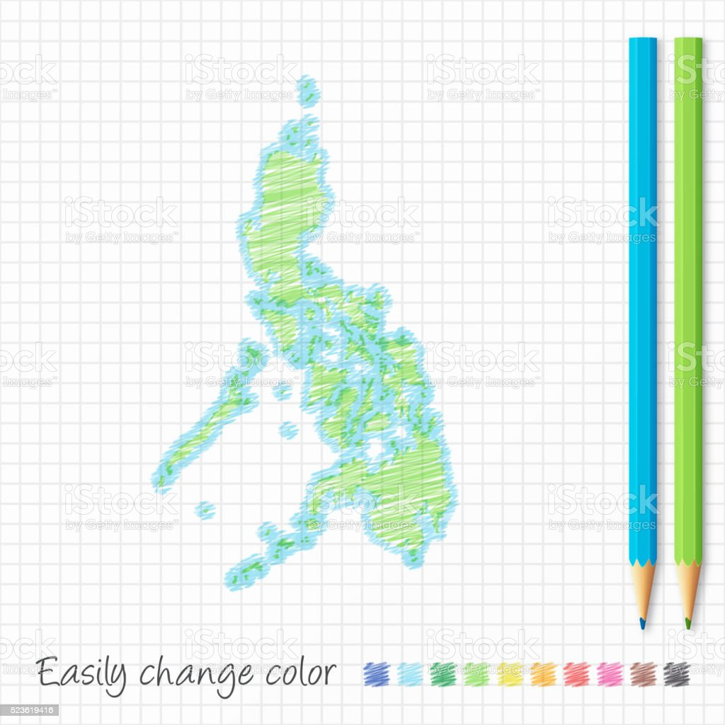 Philippines map sketch with color pencils, on grid paper vector art illustration