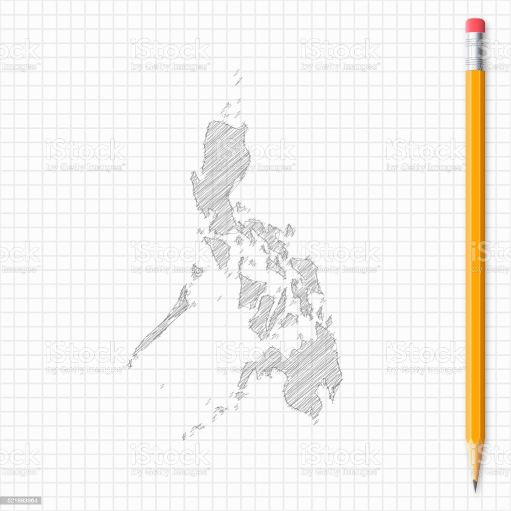 Philippines map sketch with pencil on grid paper vector art illustration