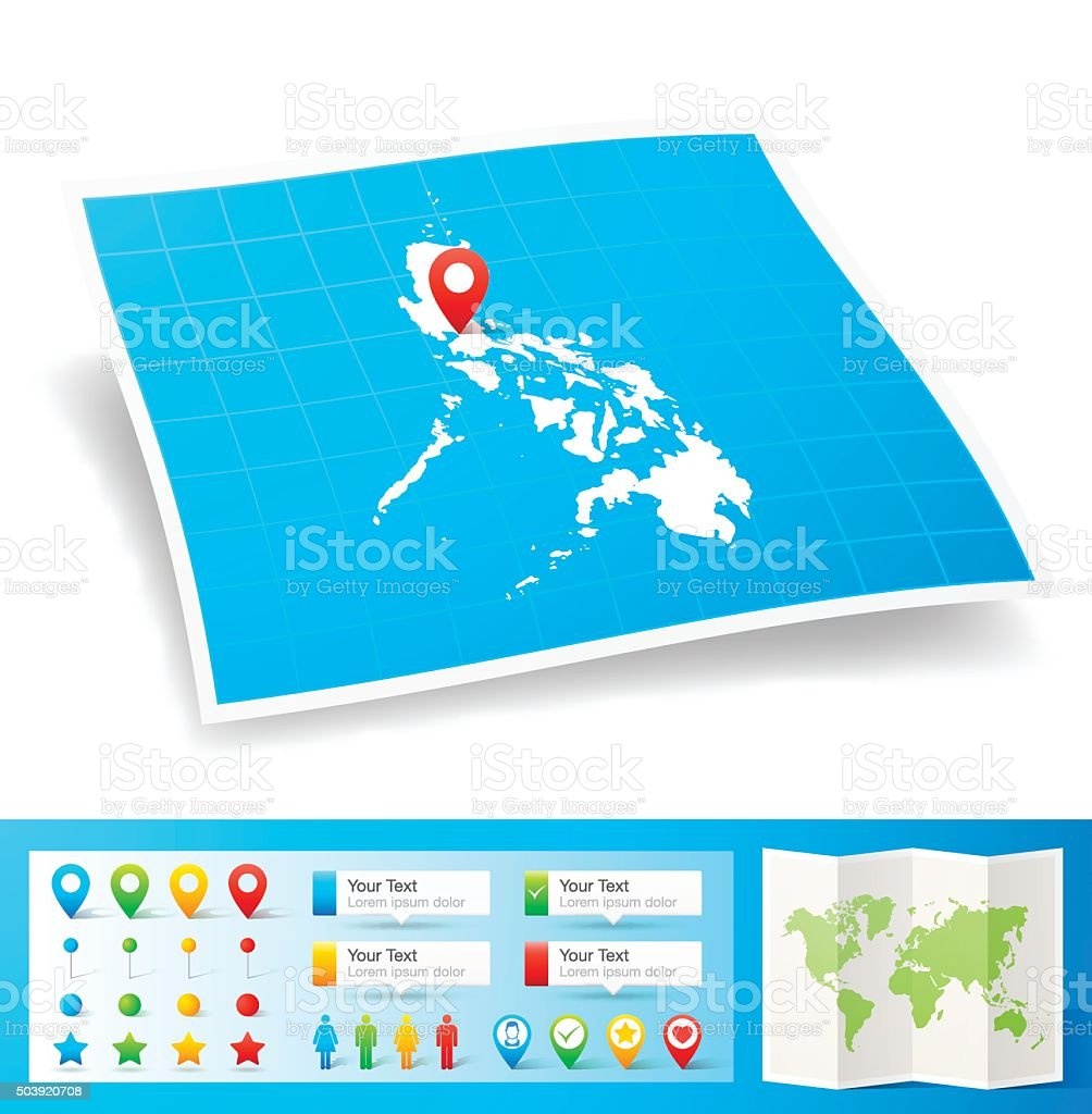 Philippines Map with location pins isolated on white Background vector art illustration