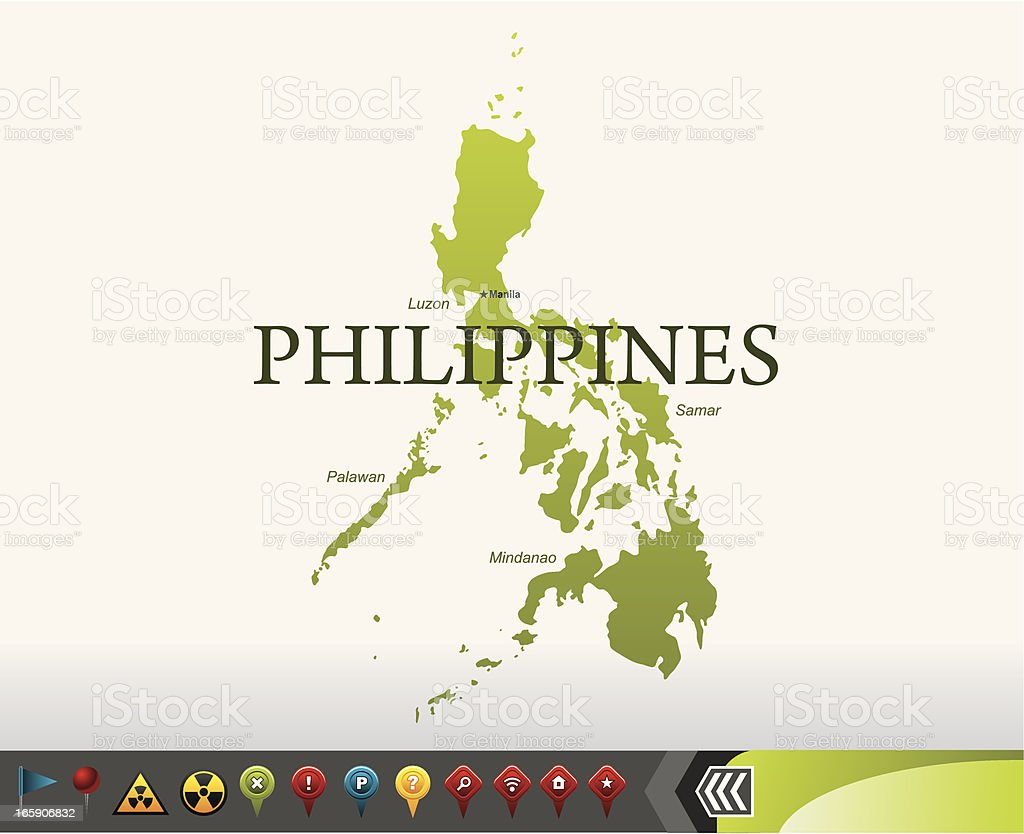 Philippines map with navigation icons vector art illustration