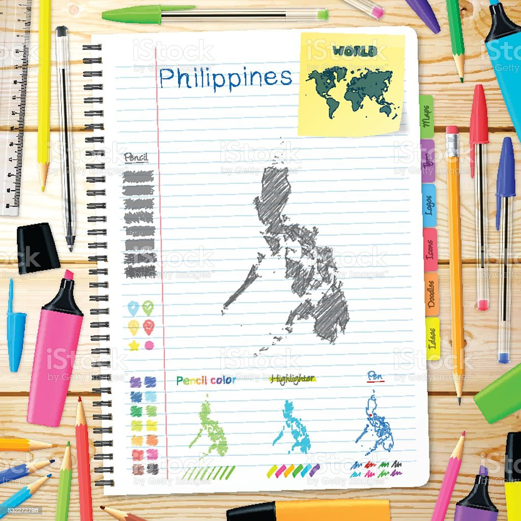Philippines maps hand drawn on notebook. Wooden Background vector art illustration