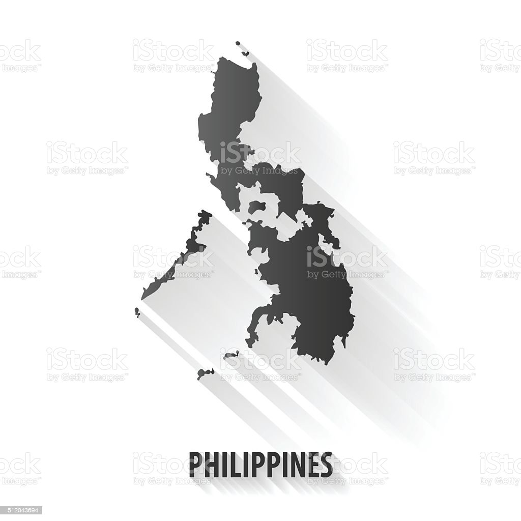 Philippines map,vector long shadow icon vector art illustration