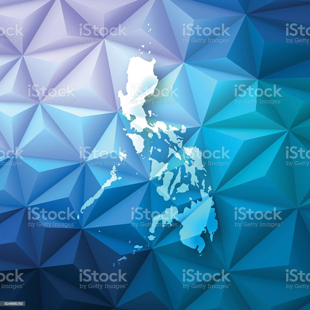 Philippines on Abstract Polygonal Background - Low Poly, Geometric vector art illustration