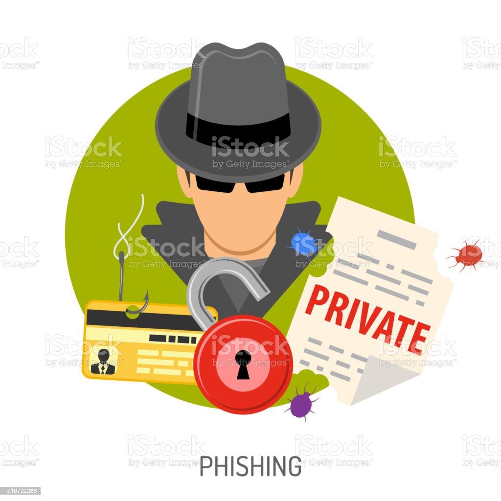 Phishing Concept Icons vector art illustration