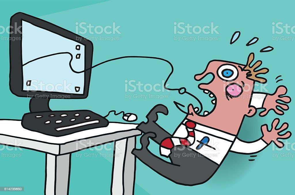 Phishing victim vector art illustration