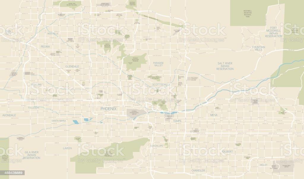 Phoenix Area Map vector art illustration