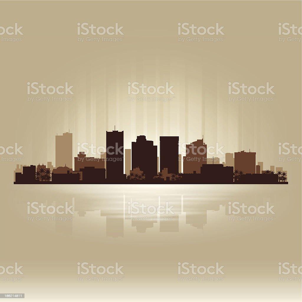 Phoenix Arizona brown skyline city silhouette vector art illustration