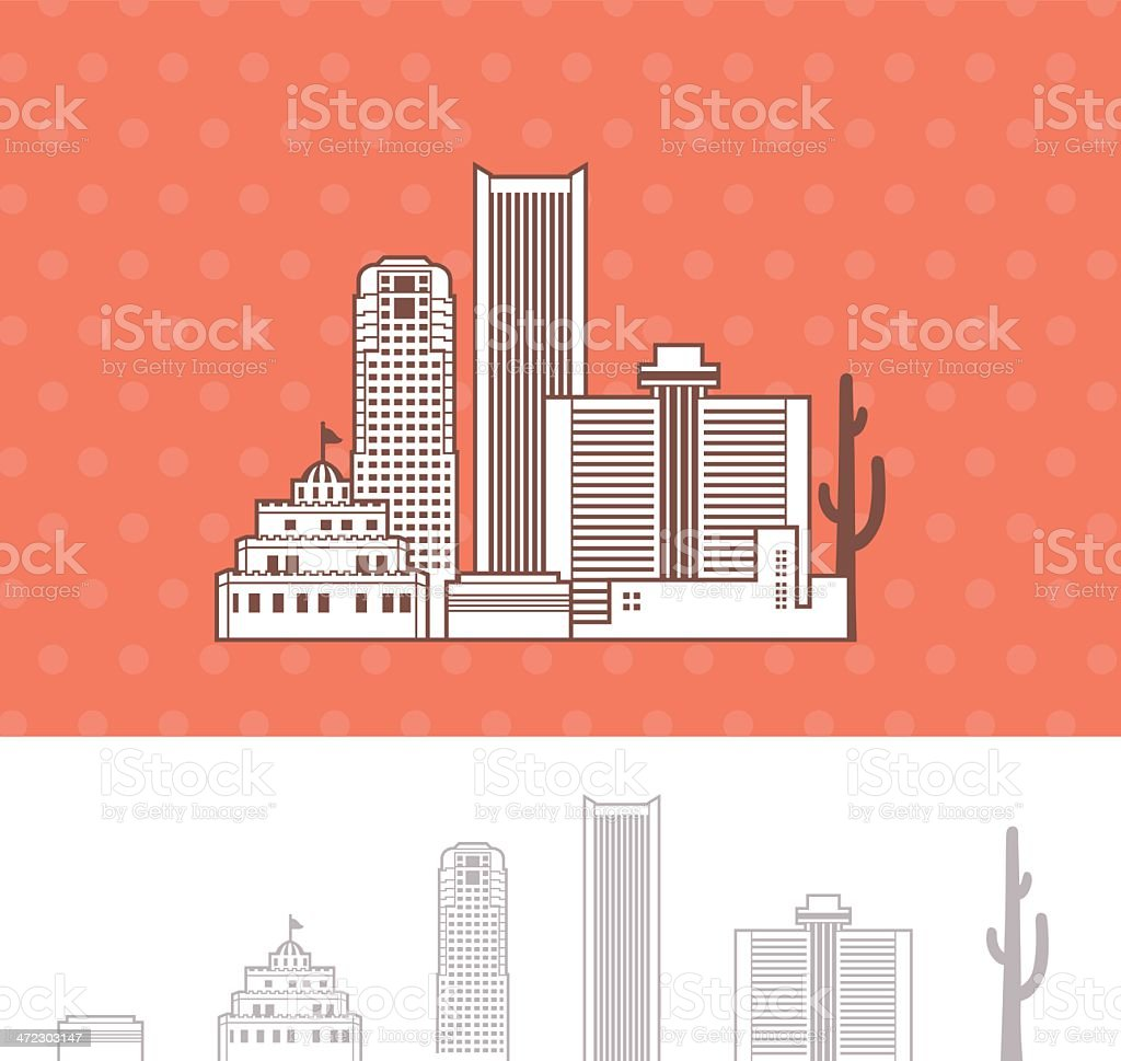 Phoenix, Arizona Skyline Cityscape royalty-free stock vector art