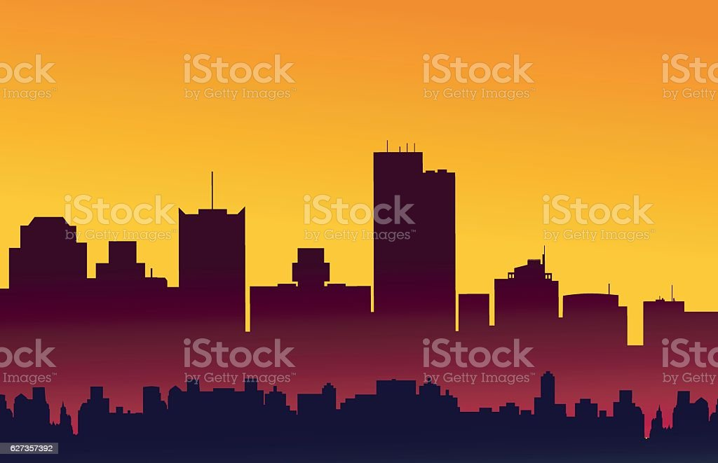 Phoenix Arizona Sunset Skyline - Vector vector art illustration