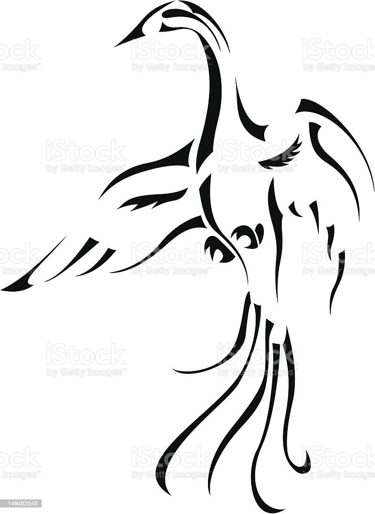 Phoenix bird. Abstract line art. royalty-free stock vector art