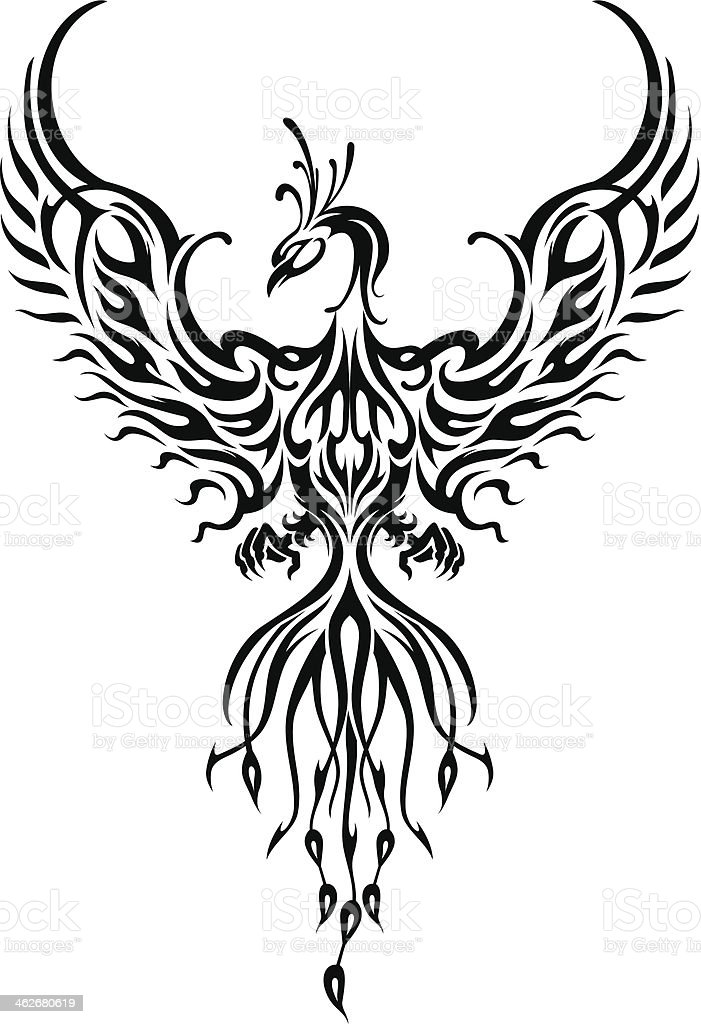 Phoenix Bird Tattoo vector art illustration