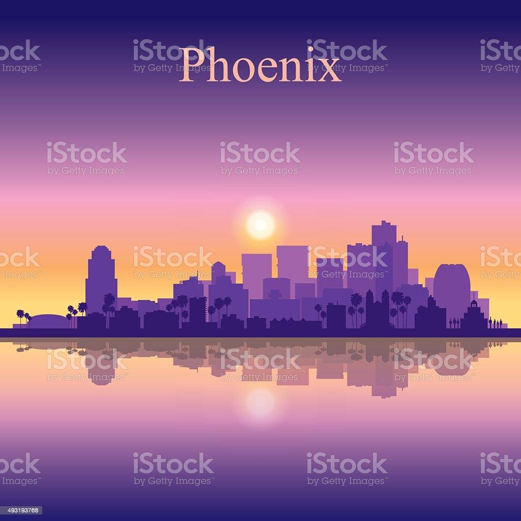 Phoenix city skyline silhouette background vector art illustration