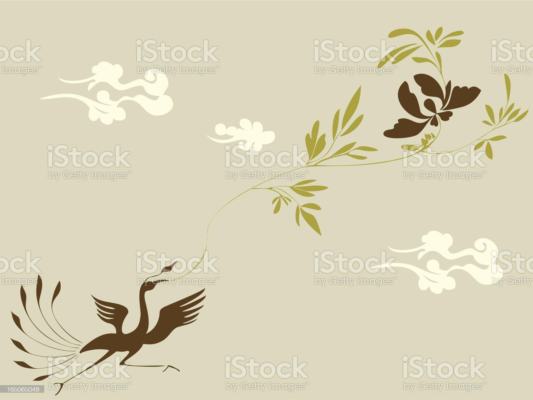 Phoenix & Flower royalty-free stock vector art