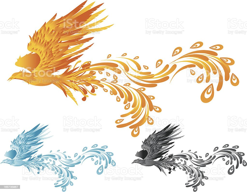 Phoenix Fying royalty-free stock vector art