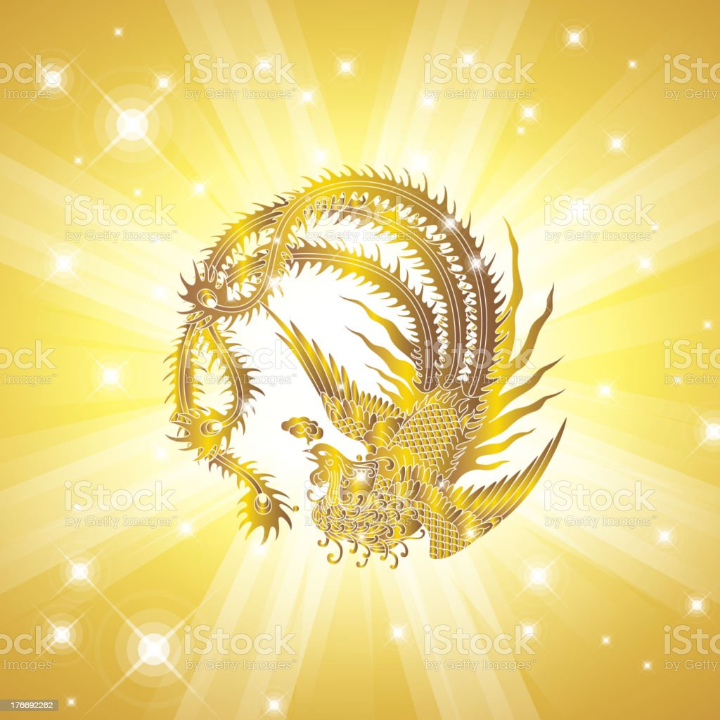 Phoenix in golden background royalty-free stock vector art