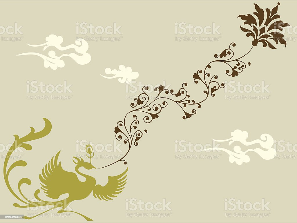 Phoenix & Plant royalty-free stock vector art