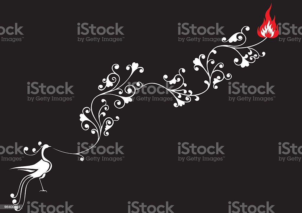 Phoenix Set 001 (Fire Flame) royalty-free stock vector art