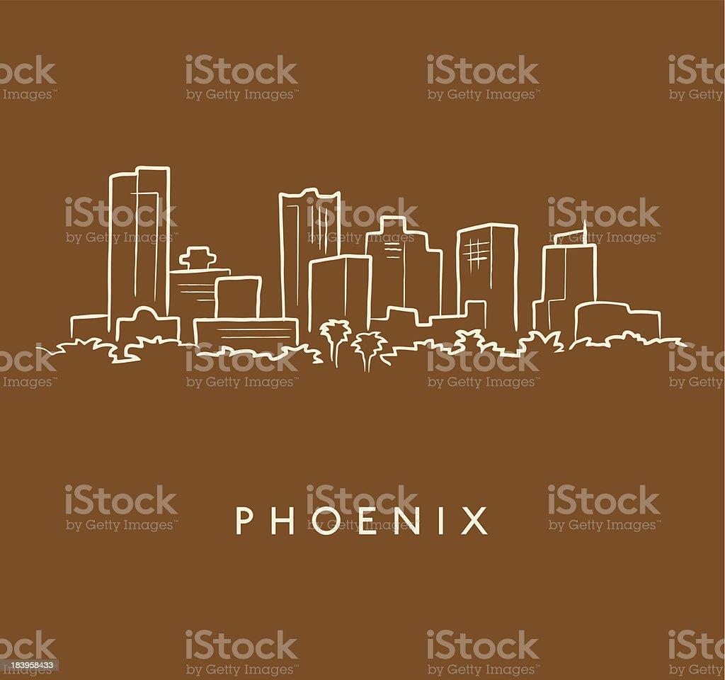 Phoenix Skyline Sketch vector art illustration