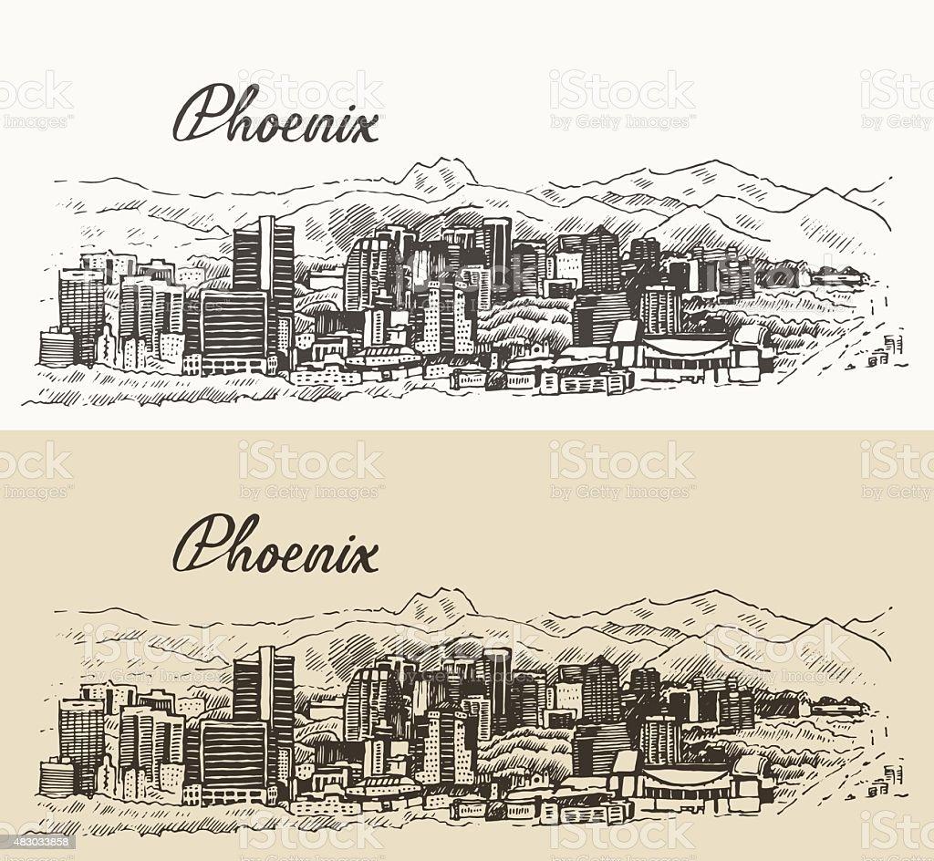 Phoenix skyline vector illustration hand drawn vector art illustration