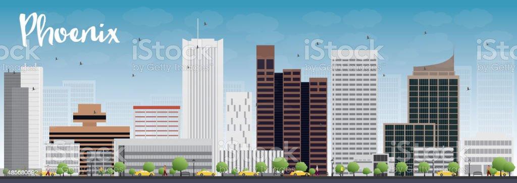 Phoenix Skyline with Grey Buildings and Blue Sky vector art illustration