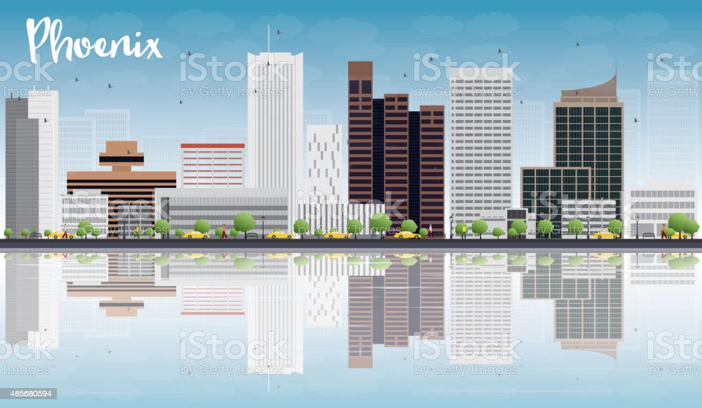 Phoenix Skyline with Grey Buildings, Blue Sky and reflections vector art illustration