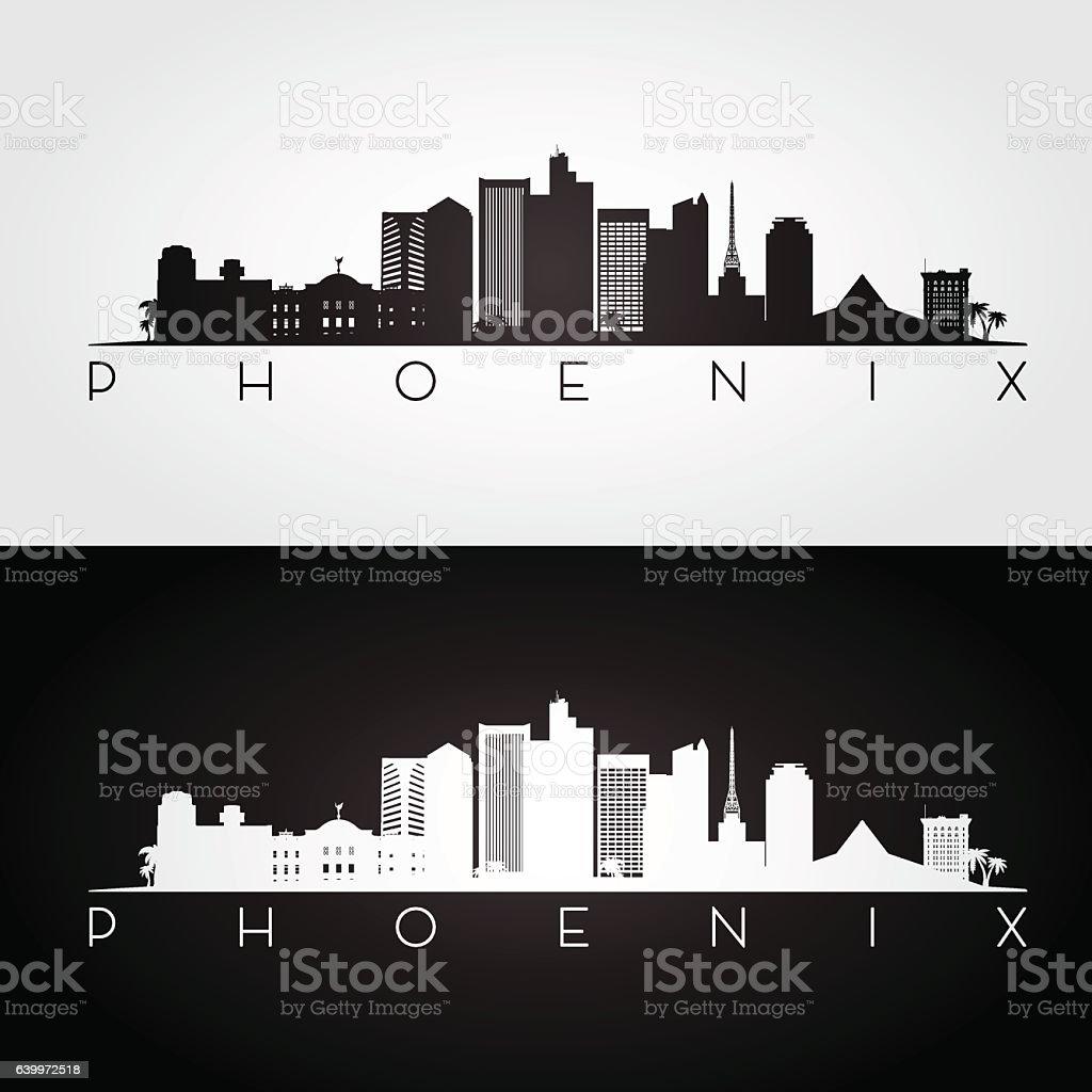Phoenix USA skyline and landmarks silhouette vector art illustration
