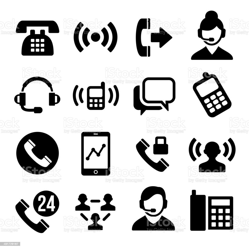 Phone and Call Center Icons Set royalty-free stock vector art
