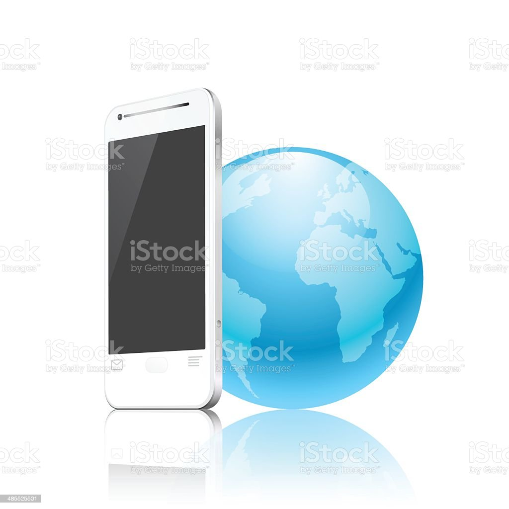 phone and earth, mobile internet concept royalty-free stock vector art