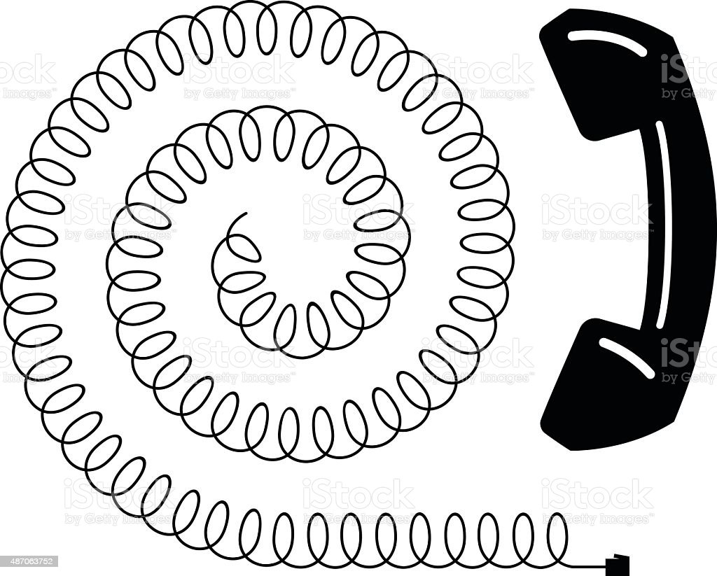 Phone and Phone Cord Spiral vector art illustration