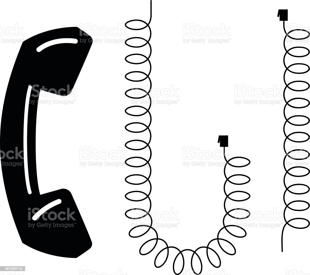 Phone and Phone Cord vector art illustration