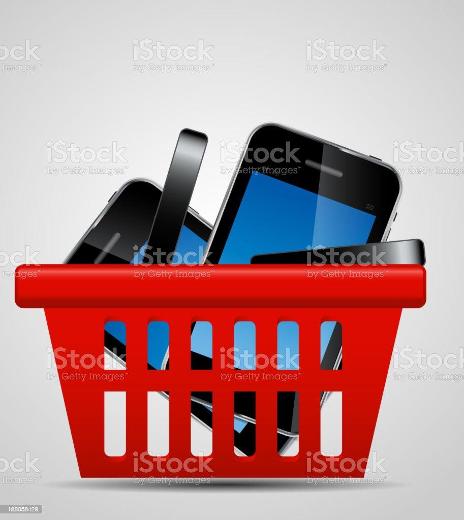Phone and shopping basket vector illustration vector art illustration