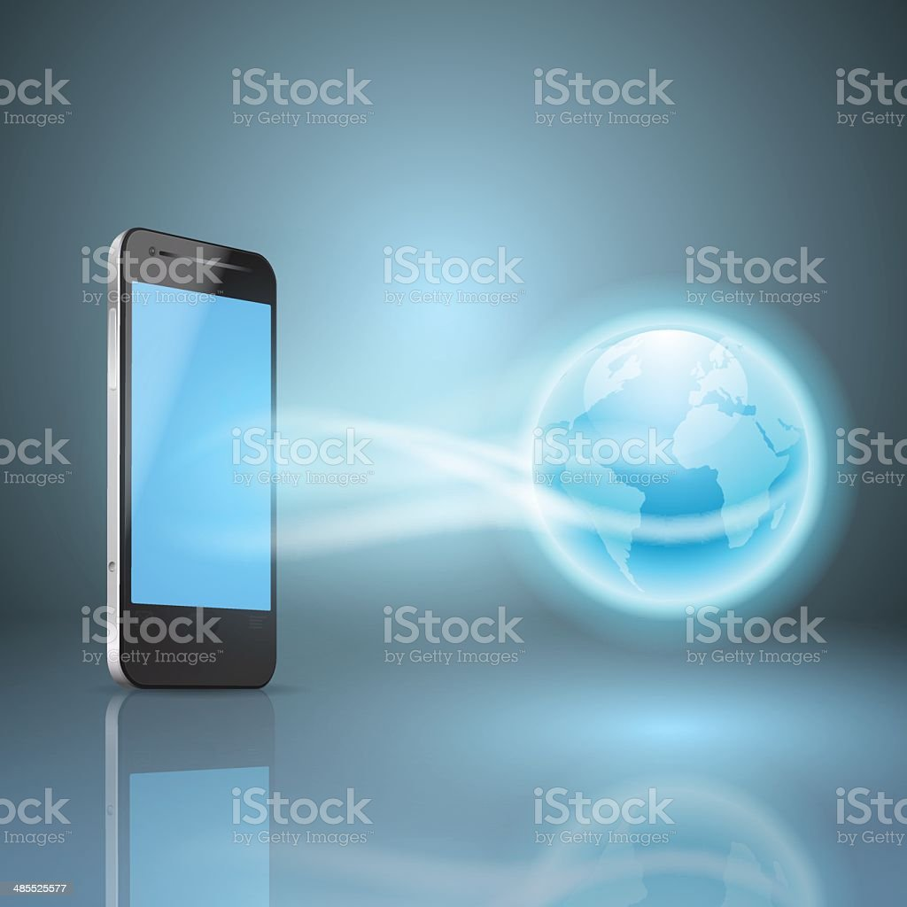 Phone and the globe, mobile internet concept royalty-free stock vector art