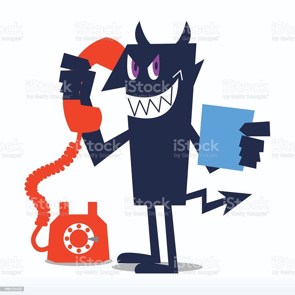 Phone Call from the Devil vector art illustration