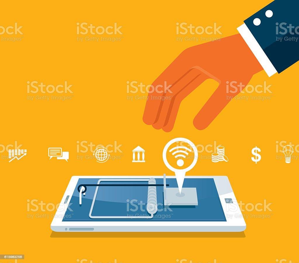 Phone fraud vector art illustration