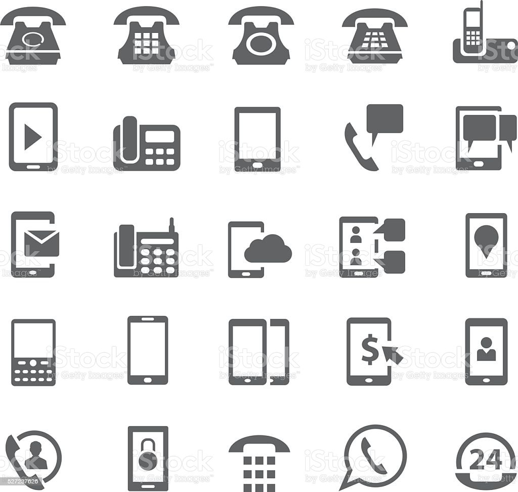 Phone icon set vector art illustration
