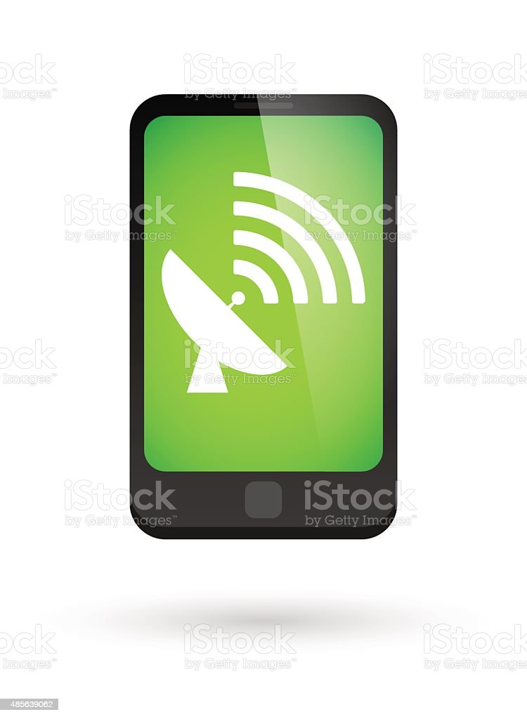 Phone icon with a satellite antenna vector art illustration