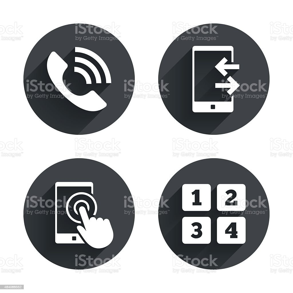Phone icons. Call center support symbol vector art illustration