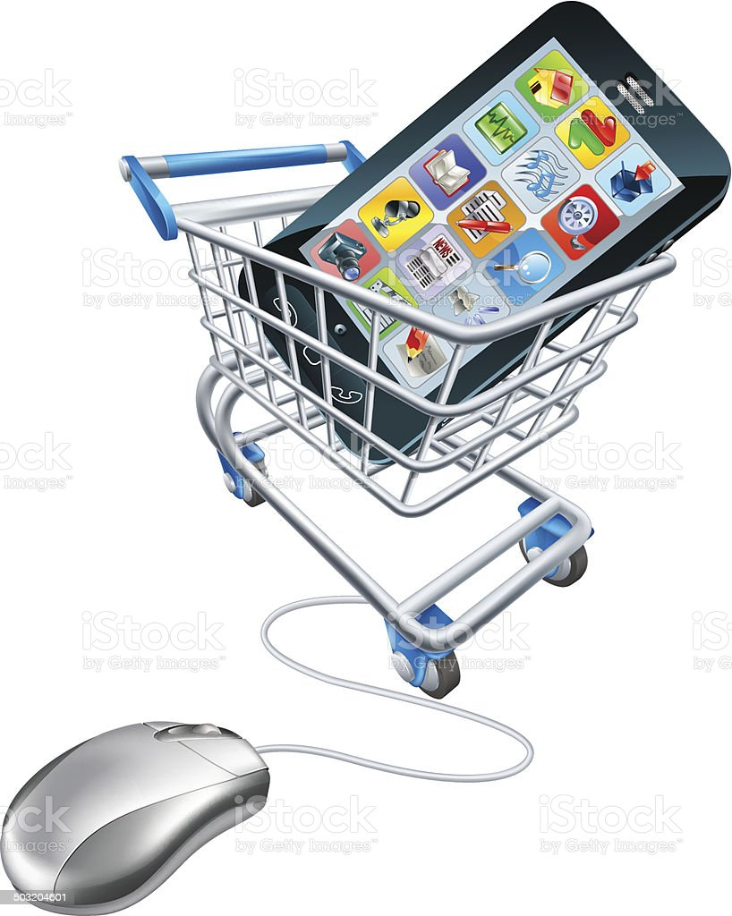 Phone mouse trolley concept vector art illustration