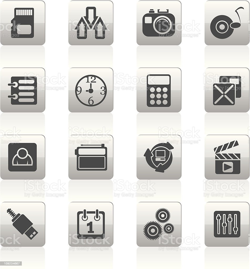 phone performance, internet and office icons stock photo
