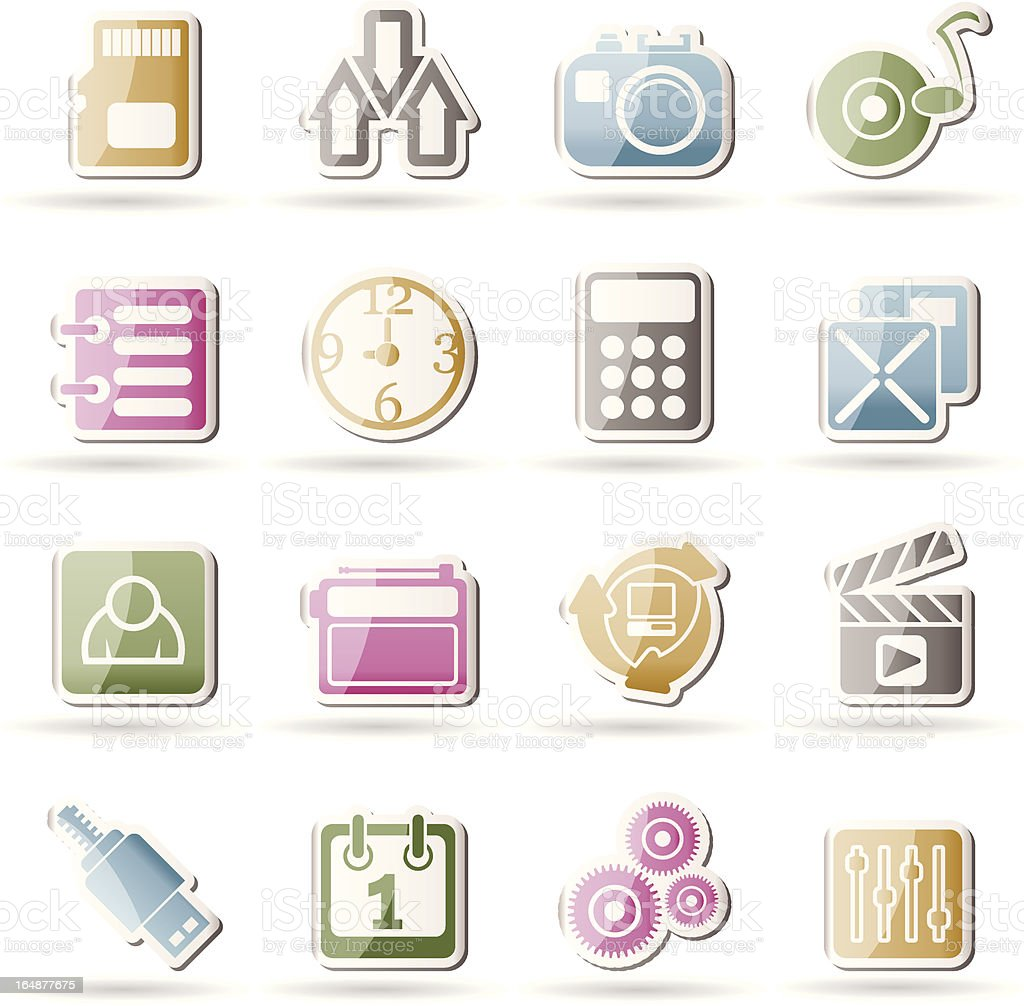 phone performance, internet and office icons royalty-free stock vector art