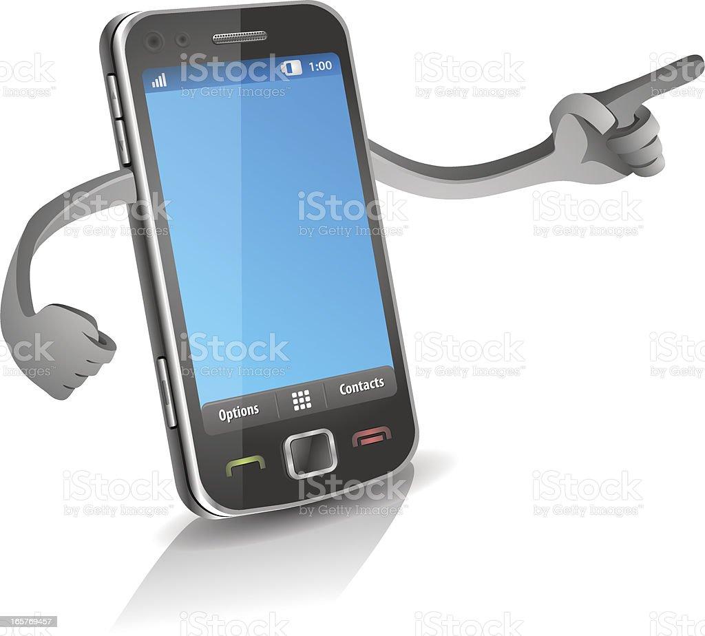 Phone Pointing vector art illustration