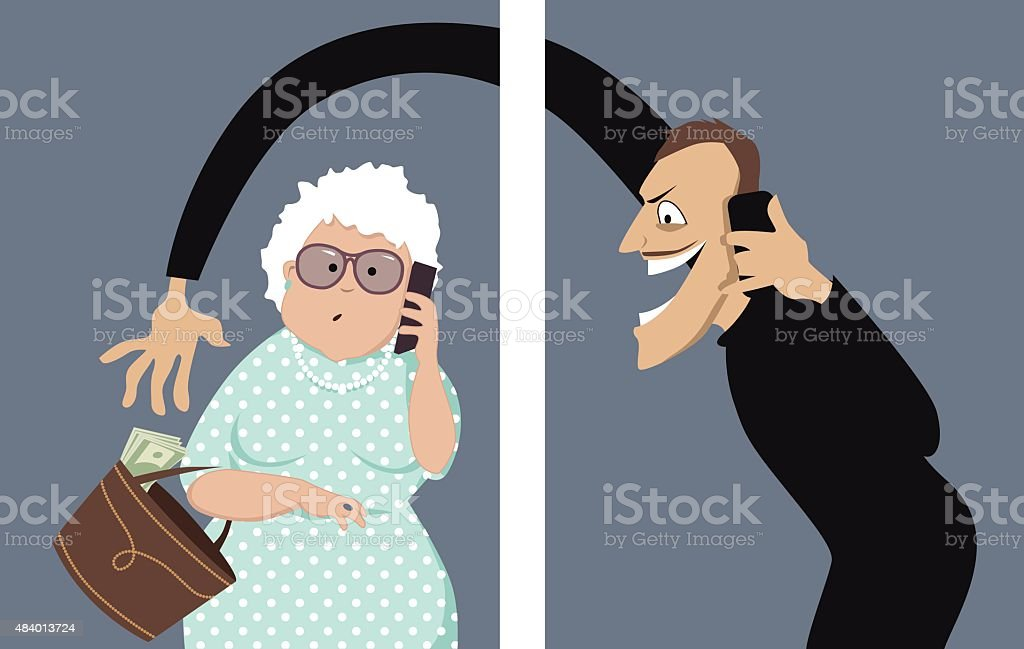 Phone scam vector art illustration