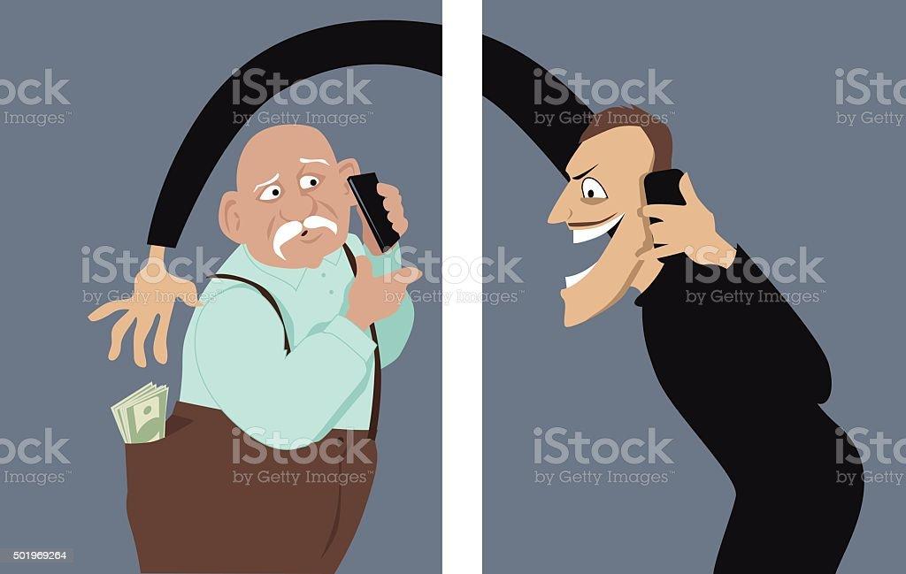 Phone scam vector art illustration
