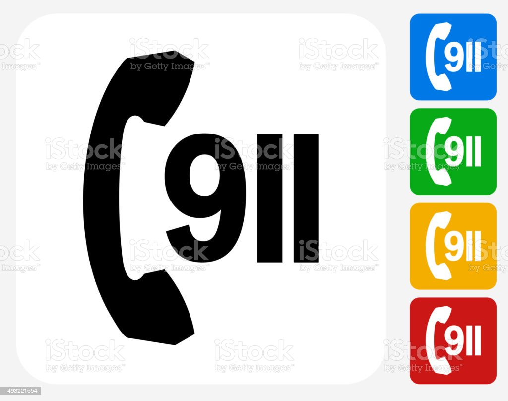 911 Phone Service Icon Flat Graphic Design vector art illustration