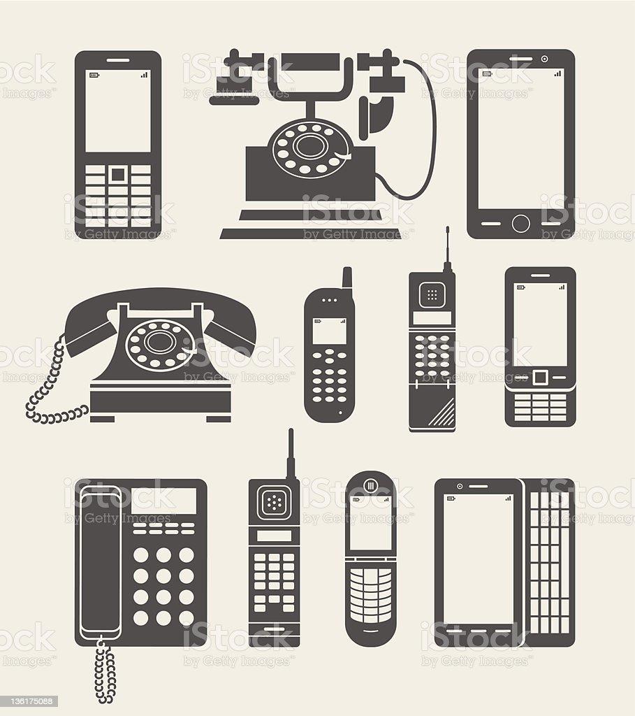 phone set simple icon vector art illustration
