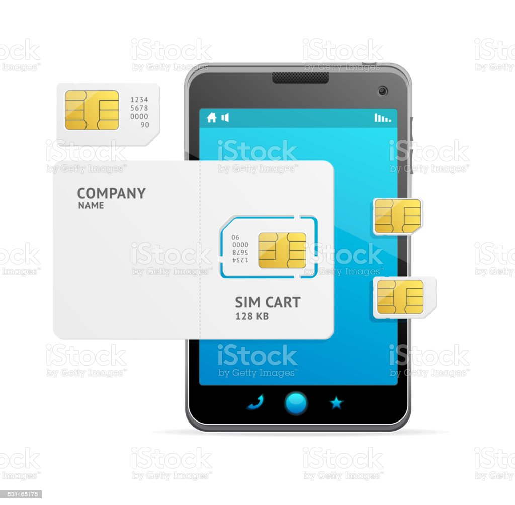 Phone Sim Card Template. Vector vector art illustration
