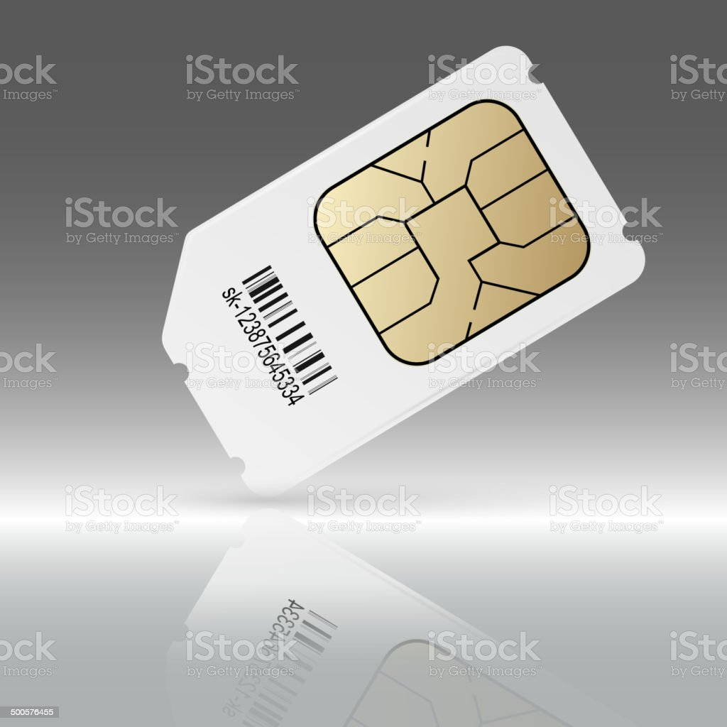 Phone sim card with reflection vector art illustration