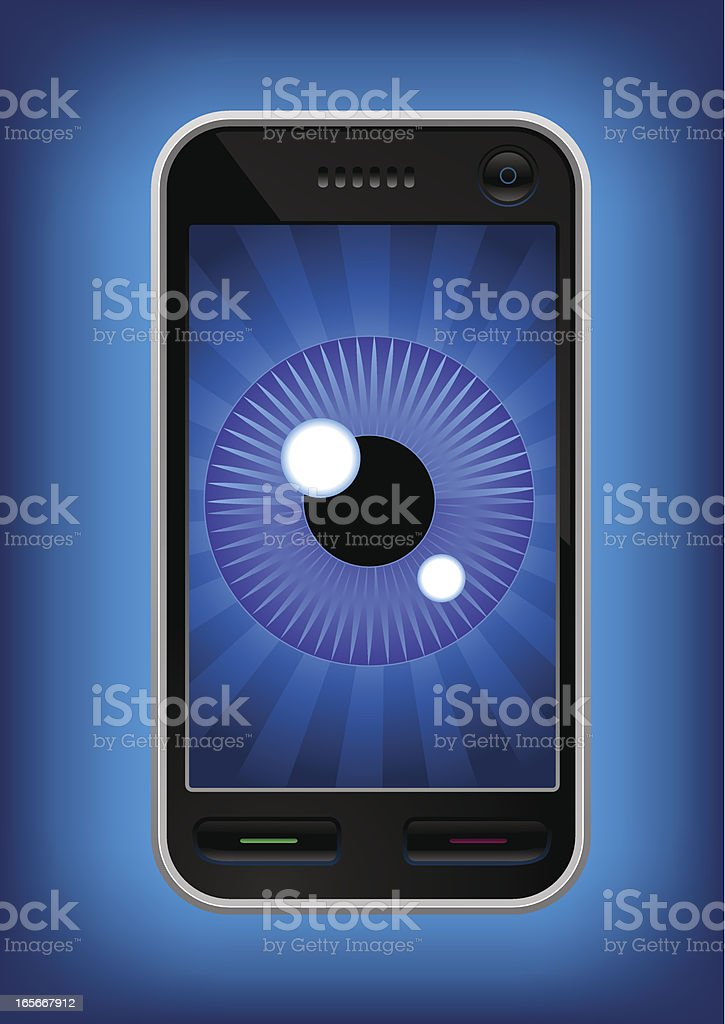 Phone surveillance vector art illustration
