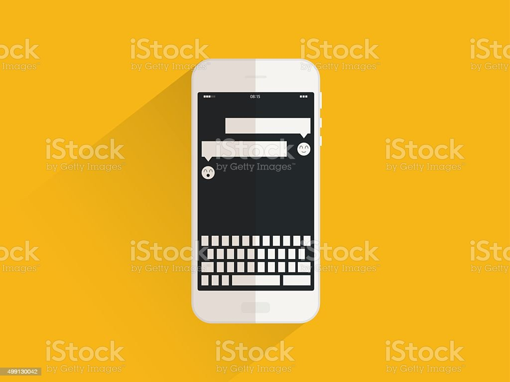 Phone, text message vector art illustration
