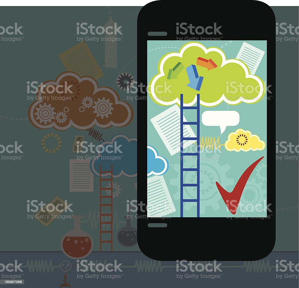 Phone with Cloud Navigation royalty-free stock vector art